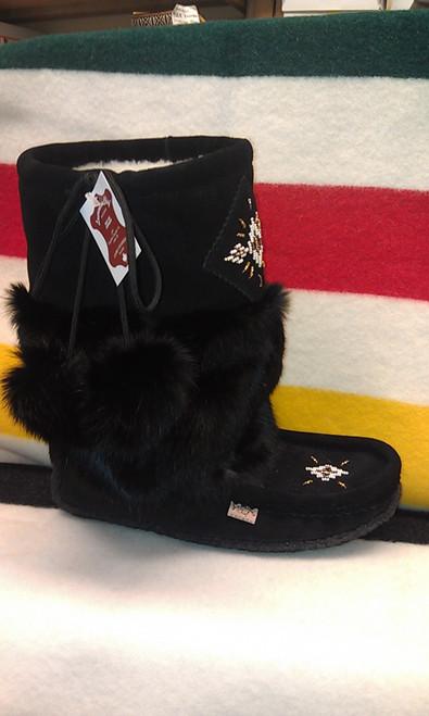 Laurentian Chief Women's Black Rabbit Fur Mid-Calf Mukluk