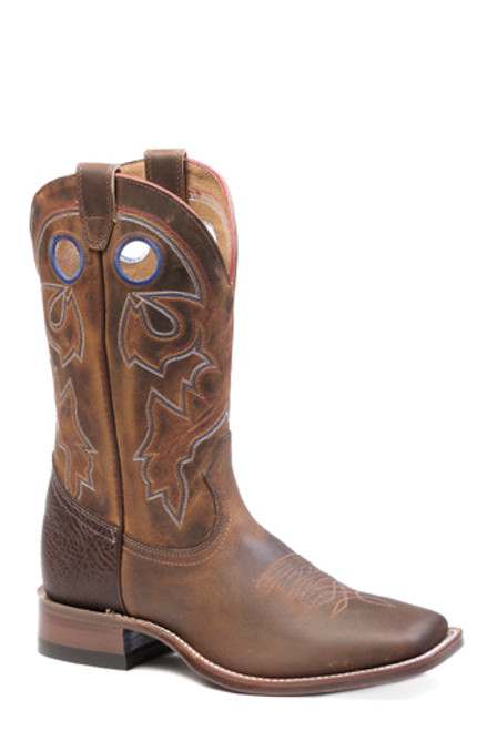 Men's Boulet Wide Square Toe Oiled Tan Cowboy Boot