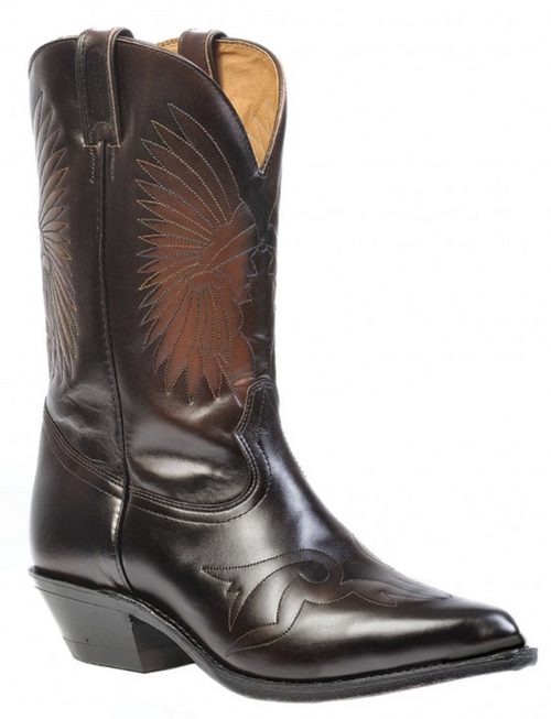 Men's Boulet Polished Brown with Native Stitch Western Boot