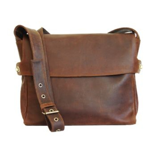 Adrian Klis Leather Messenger Bag with Leather Lining
