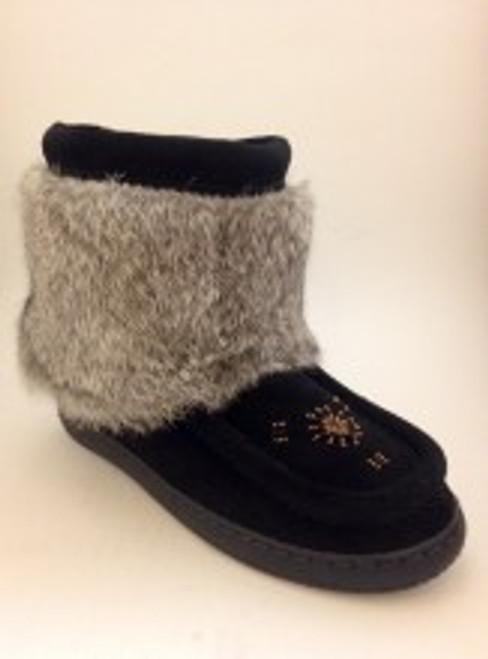 Women's Barbo Short Black Rabbit Mukluk Winter Boot
