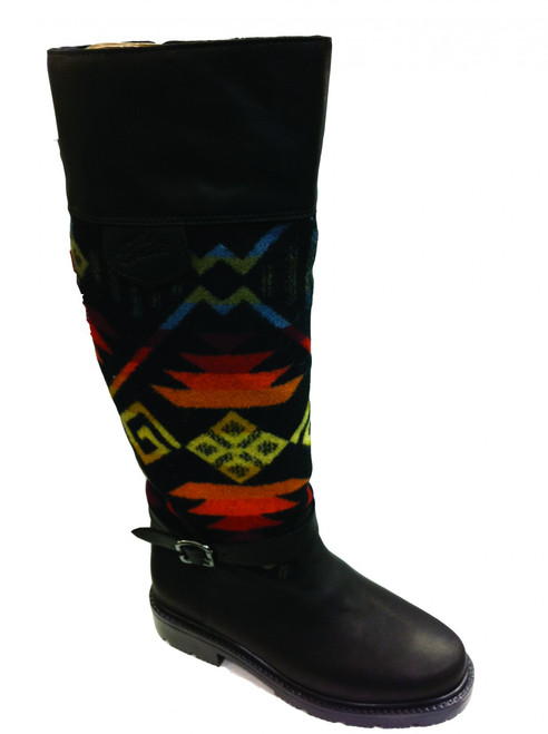 "Paul Brodie's Women's Winter Boot Black with ""Coyote Butte Black"" Pendleton Blanket"
