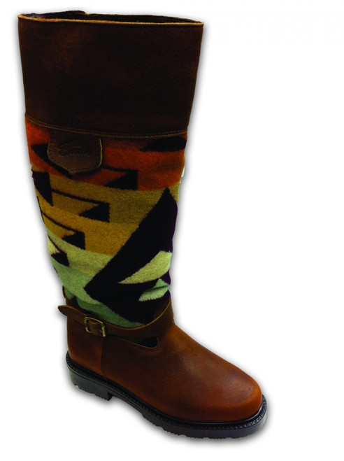 """Paul Brodie's Women's Winter Boot Brown with """"Big Amber Thunder"""" Pendleton Blanket"""