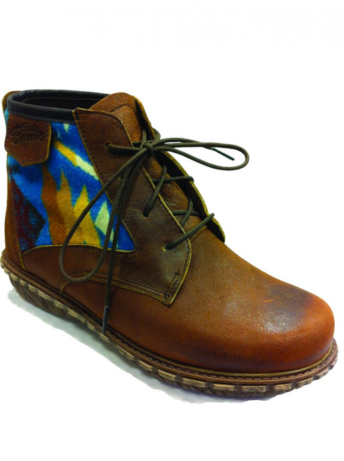"""Paul Brodie's Women's Winter Boot Brown Lace with """"Coyote Butte Turquoise"""" Pendleton Blanket"""