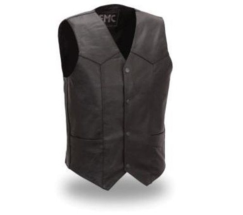First Mfg. Black Leather Bike Vest
