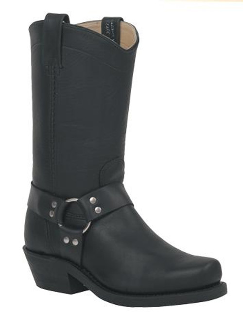 Canada West Black Leather Harness Bike Boot