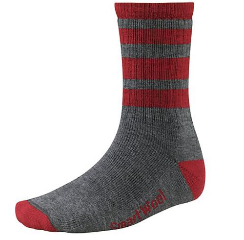 Men's Smartwool Striped Light Gray Hike Medium Crew Socks