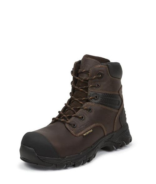 "Men's Justin 6"" Waterproof Brown CSA Safety Boot"