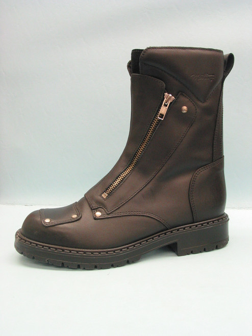 """Men's Martino Black 8"""" Motorcycle Boot with Double Zipper"""