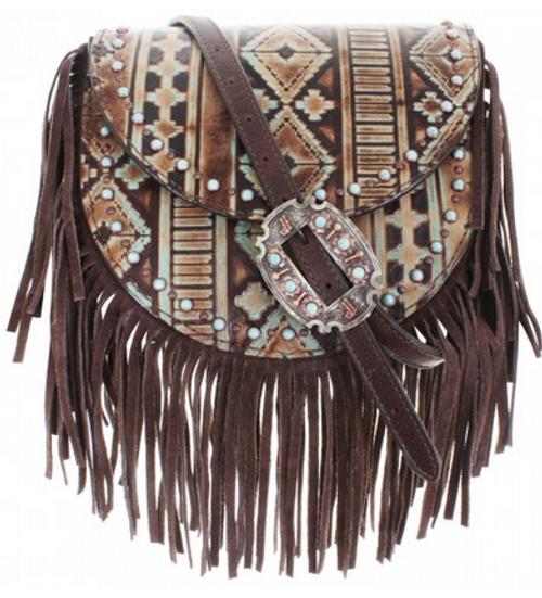 Double J Saddlery Navajo Turquoise And Brown Saddle Bag