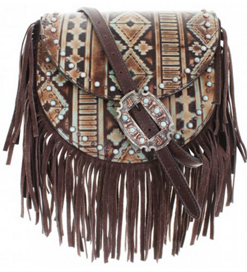 Double J Saddlery Navajo Turquoise And Brown Saddle Bag