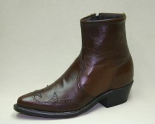 Men's Abilene Brown Half Western Boot with Side Zip