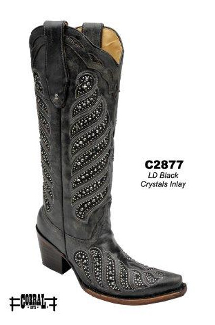 Women's Corral Black with Crystal Inlay Western Boot