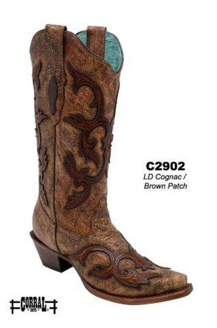 Women's Corral Cognac/Brown Patch Western Boot