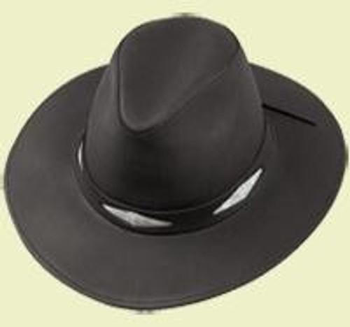 Henschel Hats Black Leather Hat