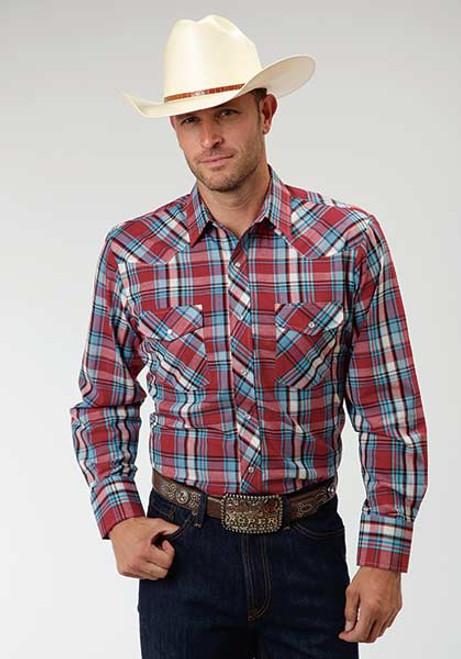 Men's Roper Red & Blue Plaid Longsleeve Western Shirt