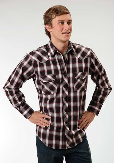 Men's Roper Black Watch Plaid Longsleeve Shirt