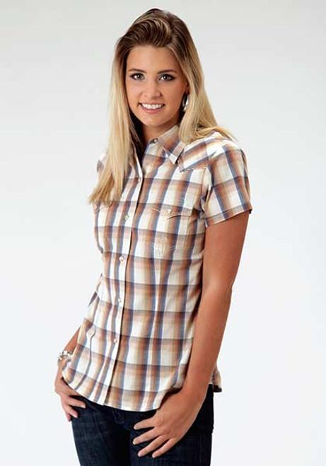 Women's Roper Goldenrod Plaid Short Sleeve Shirt