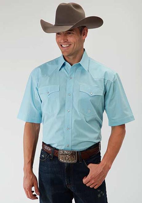 193d4215 Men's Roper Amarillo Plaid Snap Turquoise Shirt - Herbert's Boots ...