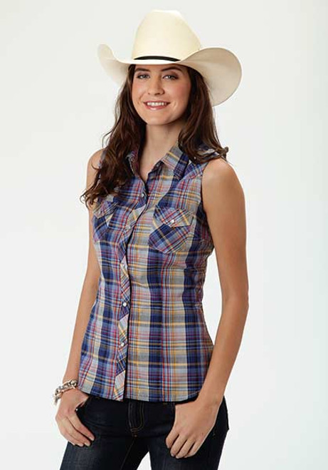 eb25bdf06b4fec Women s Roper Multicolour Plaid Sleeveless Western Shirt