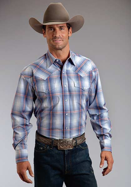Men's Stetson Smokey Blue Ombre Plaid Western Shirt
