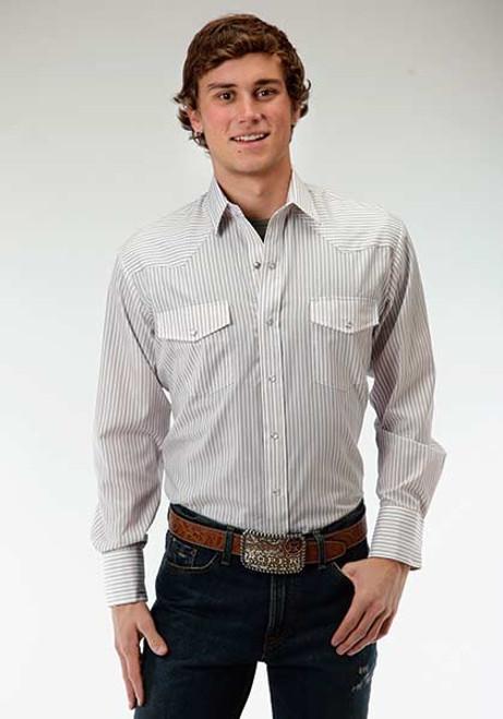 Men's Roper Brown and White Mini Stripe Shirt