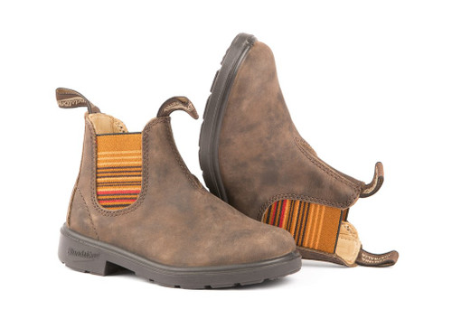 Blundstone Kid's 1338 Rustic Brown with Striped Elastic