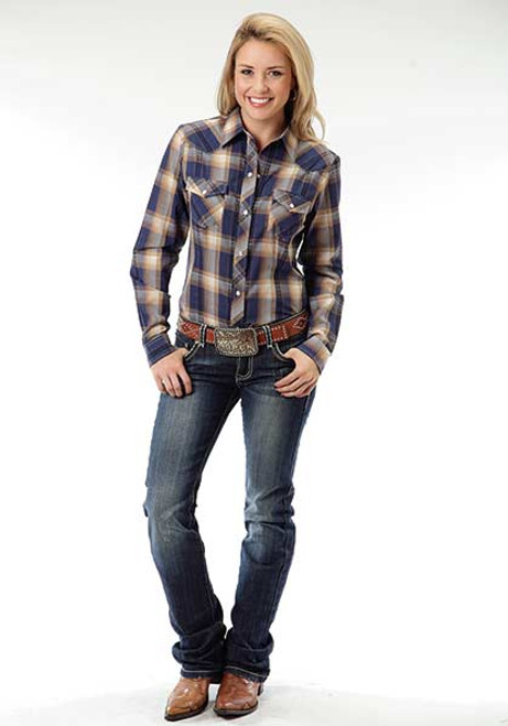 Women's Roper Blue & Gold Plaid Longsleeve Shirt