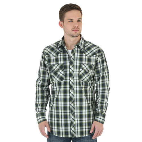 Men's Wrangler White and Olive Plaid Shirt