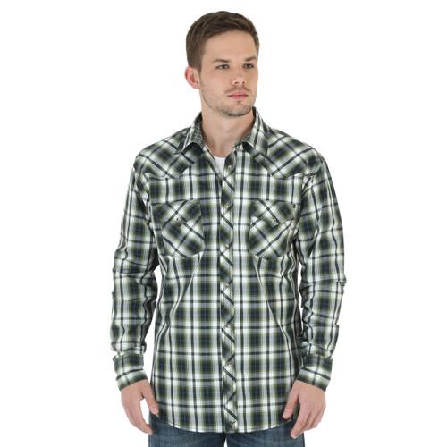 Men's Wrangler White and Olive Plaid Shirt