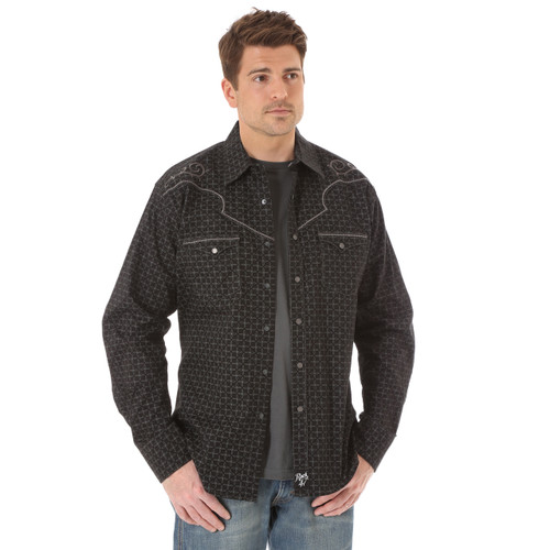 Men's Wrangler Rock 47 Black Western Shirt with Grey Embroidery