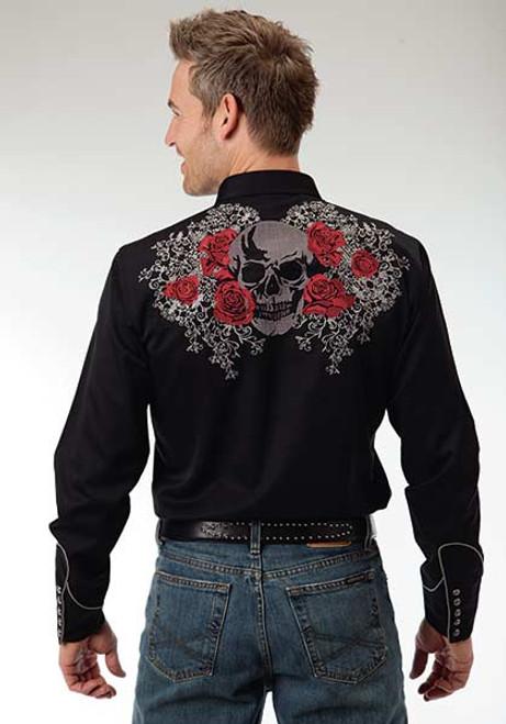 Men's Roper Black Rose and Skull Embroidery Western Shirt