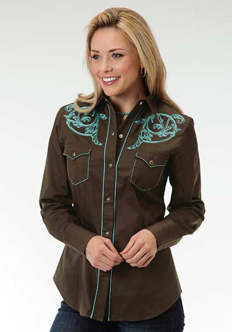 Women's Roper Brown with Teal Embroidery Shirt