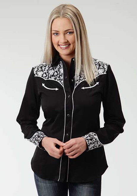 Women's Roper Black with Leaf Embroidery Western Shirt
