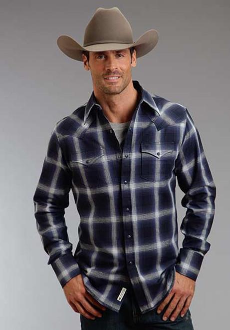 Men's Stetson Blue Box Plaid Shirt