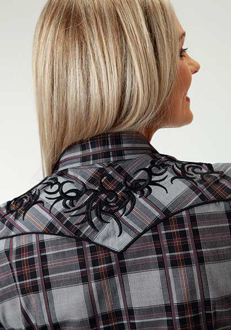 Women's Roper Black Grid Plaid Shirt