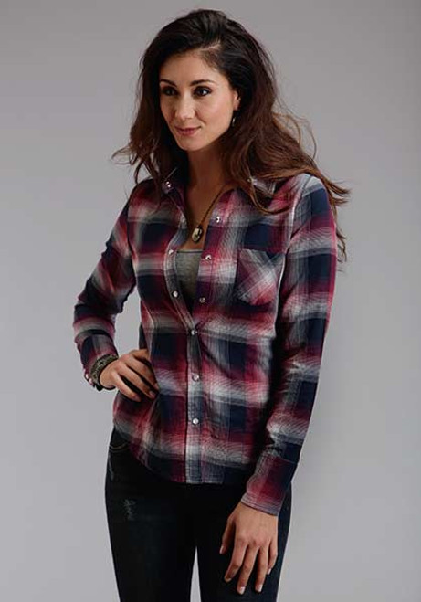 Women's Stetson Pomegranate Plaid Shirt