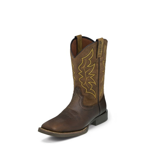 Men's Justin Brown Milled Wide Square Toe Stampede Western Boots