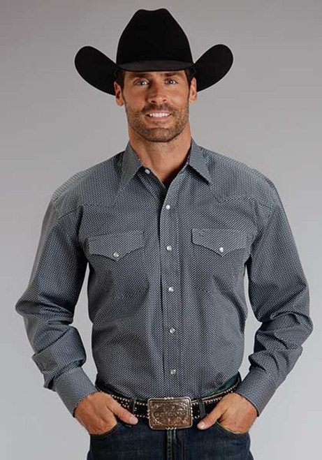 Men's Stetson Dark Grey Shirt with Small Point Pattern