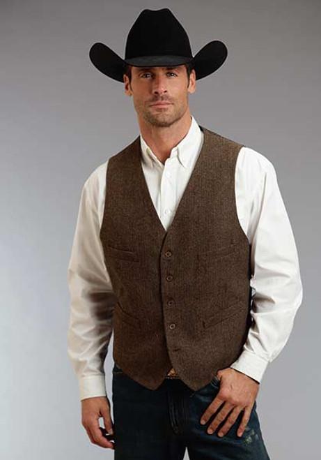 Men's Stetson Brown Western Vest