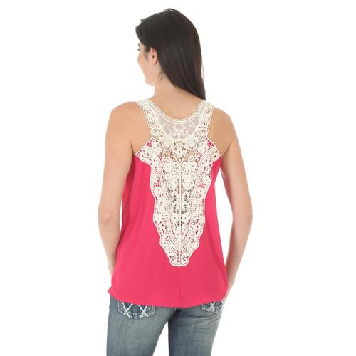 f4a623435fb8d Women s Wrangler Pink Sleeveless Top with Crochet Back - Herbert s ...