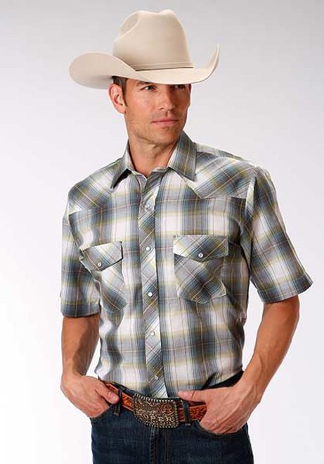 Men's Roper Grey and Green Short Sleeve Western Shirt