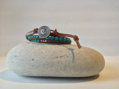 CEOriginals Beaded Triple Wrap Bracelet Brown cord