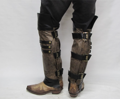 Chaps Concept Brown and Black Half Chap