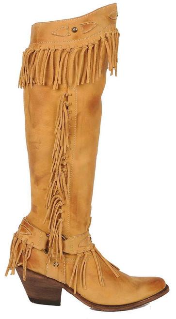 "Women's Old Gringo Nikka 17"" Beige Fringe Boot"