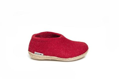 Kid's Glerups  Shoe Red with Leather Sole