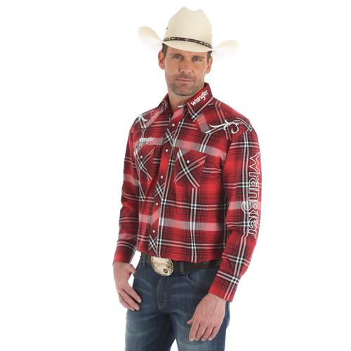 Men's Wrangler Red Plaid Long Sleeve Logo Shirt