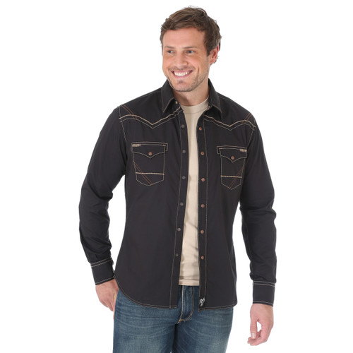 Men's Wrangler Rock 47 Black Long Sleeve Tan Stitch