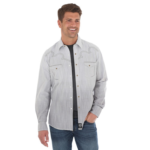 Men's Wrangler Rock 47 Grey Faded Long Sleeve