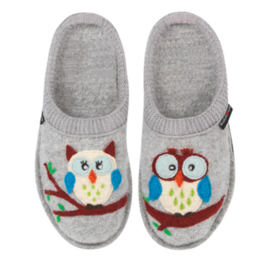 6f03533c5b1c Haflinger Boiled Wool Soft Sole Slippers Olivia Silver Grey with Owls